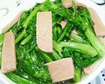 火腿片炒油麦菜