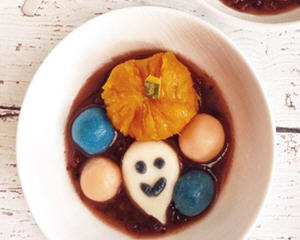 万圣节特供的南瓜红豆汤圆