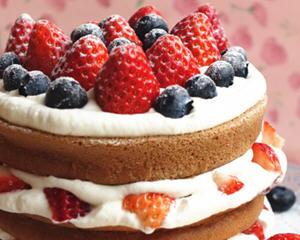 可可草莓裸蛋糕
