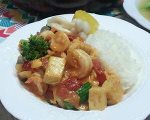 茄汁虾仁豆腐盖饭