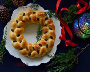 简易版圣诞花环面包