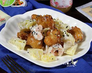 菠萝油条虾仁