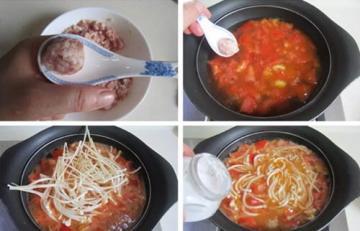 金针菇番茄肉丸汤1