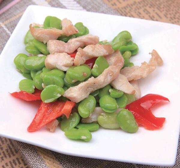 鸡柳炒蚕豆